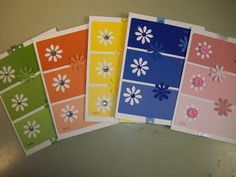 OAK Creations: Paint Chip Cards - Rainbow or could be used as tags. Paint Chip Cards, Paint Sample Cards, Paint Samples, Strip Cards, Paint Swatches, Scrapbook Cards, Scrapbooking, Flower Cards, Paper Flowers
