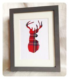 Hand Crafted Stag - Royal Stewart Tartan via Etsy Tartan Crafts, Tartan Decor, Arts And Crafts, Paper Crafts, Diy Crafts, Royal Stewart Tartan, Coastal Christmas, Christmas Time, Inspirational Gifts