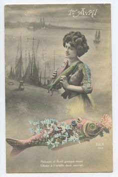 Edwardian Lady April Fool Day Lucky Fish original vintage 1910 photo postcard aa