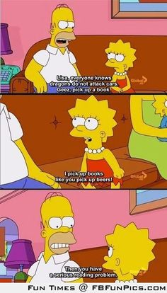 Awesome and funny photos and gifs from The Simpsons. Funny quotes and scenes from The Simpsons episodes over the years. Simpsons Frases, Simpsons Quotes, Up Book, Love Book, Book Nerd, The Simpsons, Simpsons Meme, Simpsons Episodes, Funny Photos