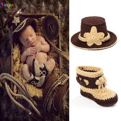 Baby Cowboy Boots Hat Crochet Newborn Photography Unisex Baby Clothes 0 3 Months Knitting Brown European Style Cute Funny