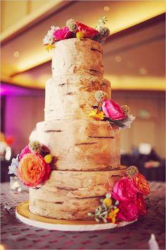 Modern Vegas fall floral wedding cake