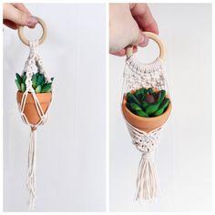 Mini macrame plant hanger mini macrame mini plant hanger | Etsy
