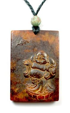 Happy Zen Buddha Carved Dark Red Jade Amulet Talisman Necklace, Japanese Zen Style, Himalayan Jade Carved Pendant 60x48x10 mm , Simple Black Cord 70 cm- Fortune Feng Shui Antique Jewelry by Feng Shui & Fortune Jewelry, http://www.amazon.co.uk/dp/B00F8HL8QU/ref=cm_sw_r_pi_dp_KtZpsb1MDEJXT