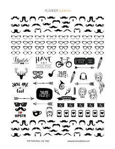 FREE Printable Planner Stickers - Black & White Hipster by Planner Addiction Free Planner, Planner Pages, Happy Planner, Blog Planner, Planner Ideas, College Problems, Bujo, Create 365 Planner, Estilo Hipster