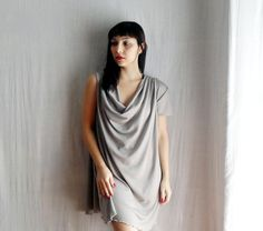 grey drape dress