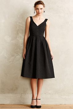 gold pin-dot jacquard party dress - love this for holiday parties with gold shoes and a red lip! #anthrofave