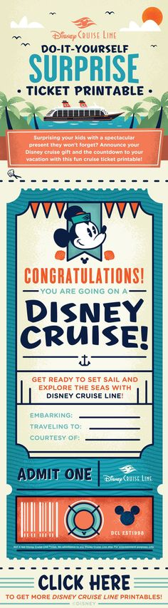 Give the gift of a Disney Cruise vacation with this DIY Surprise Ticket Printable! Save this file to your desktop (Right click the image and select Save Image As) to print it out or click the link for more printables! disney cruise, crusing with disney #disney #cruise #cruising