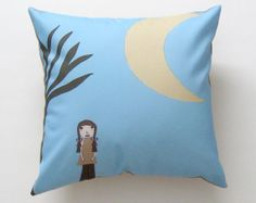Emma Girl Moon Tree Blue Brown Yellow Pillow Cover by SunlitForest, $15.00