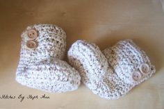 Unisex Booties Crochet Booties Cotton Baby by stitchesbystephann, $20.00