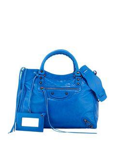 Classic Velo Crossbody Bag, Blue by Balenciaga at Neiman Marcus.