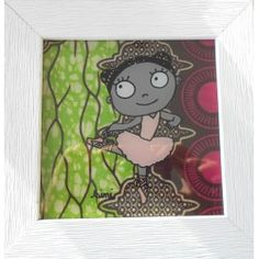 "Tableau Peinture Sous-Verre ""Mademoiz'elle Dakar"""