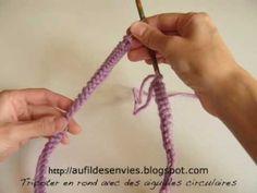 ▶ Tricoter en rond avec des aiguilles circulaires - YouTube