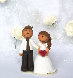 Figurine de mariage Leah (10.5cm) www.littlemandarine.com #weddingcaketopper #polymerclay #littlemandarine