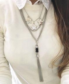 Collar Star Premium Use the add solid metal flowers p endant Tassel Jewelry, Charm Jewelry, Wire Jewelry, Jewelry Necklaces, Simple Necklace, Diy Necklace, Tassel Necklace, Fashion Accessories, Fashion Jewelry