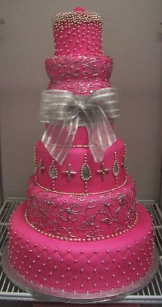 Pink Bejeweled Cake!!! Bebe'!!! Love this magenta pink cake perfect for a special pink occasion...an anniversary or birthday or all pink wedding and reception for the pink loving princess!!!
