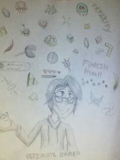 "This is a gift for one of my friends. I drew him last summer and I just decided to draw him again. He is a mega nerd, so what better way to show it than to put a crap ton of video game items around him. Underneath him it says ""ultimate gamer"" and the items surrounding him come from games such as zelda, super mario, mortal kombat, minecraft, tetris, ssb, cod, banjo-kazooie, space raiders, pokemon, and metroid. He is going to love this XD!!!"