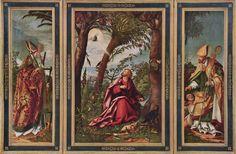 Het Johannesaltaar ~ 1. Linkerpaneel: De heilige Erasmus (146 x 46 cm.) 2. Middenpaneel: Johannes op Patmos (153,1 x 124,7 cm.) 3. De heilige Martinus van Tours (146 x 46 cm.) ~ 1518 ~ Olieverf op hout ~ Alte Pinakothek, München