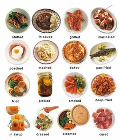 "Poster with English vocabulary related to COOKED OR PREPARED FOOD from the website ""English with Raymond"" (Wix)"