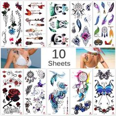 Lady Up 10 Sheets Temp Body Art Temporary Tattoos Fake Tattoo for Women Kids Butterfly Flower Rose Feather Pattern Waterproof Stickers * Check this awesome product by going to the link at the image. (This is an affiliate link) Japanese Tattoo Designs, Japanese Sleeve Tattoos, Fake Tattoos, Body Art Tattoos, Unique Tattoos, Henna, Meaningful Tattoos For Women, Temp Tattoo, Temporary Tattoo Designs