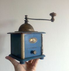 rare blue vintage PEUGEOT french coffee grinder / by Musicatelier