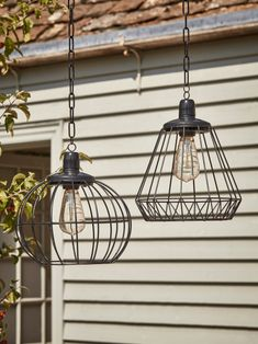 Two Solar Cage Lights - Decorative Outdoor Lights - Outdoor Lighting - Outdoor Outdoor Mirror, Modern Garden Lighting, Solar Led Lights, Cage Light, Light Fittings, Light, Solar Lights, Filament Bulb Lighting, Luxury Lighting
