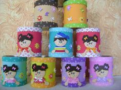 Latas decoradas con foami o goma eva - Dale Detalles Tin Can Crafts, Diy And Crafts, Daycare Rooms, Pot A Crayon, Flower Pens, Aluminum Cans, Doll Party, Felt Applique, Baby Art