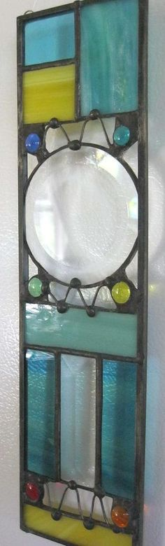 Multi Colored Oblong Contemporary Stained Glass by Nanantz on Etsy, $40.00