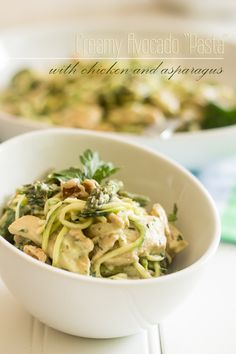 Creamy Avocado Pasta with Chicken and Asparagus Recipe plus 24 more Paleo asparagus recipes