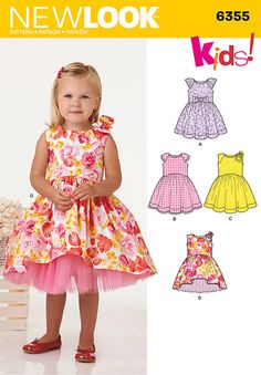 this adorable dress for toddlers features full skirt and cap sleeves with bow or trim options, or sleeveless with bow and option of high low skirt. new look sewing pattern.