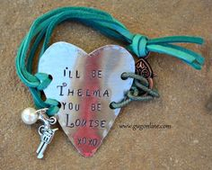 I'll Be Thelma, You Be Louise Heart Bracelet with Turquoise Leather Strap  www.gugonline.com