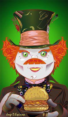 alice in wonderland, alicia en el pais de las maravillas, lewis carroll, the mad hatter, hamburguer, sombrerero loco, tim burton, parody,art pop, gag, disney, by Jorge D. Espinosa Lewis Carroll, Art Pop, Tim Burton, Alice In Wonderland, Disney, Mad, Anime, Fictional Characters, Wonderland