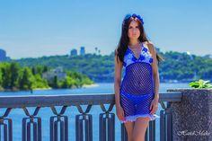 Knitted tunic, tunic crochet, summer dress, openwork, blue, white, linen, beach