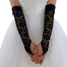 Topwedding Lace Fingerless Elbow Length Wedding Gloves with Satin Hem (73 ARS) ❤ liked on Polyvore featuring accessories, gloves, lace gloves, black fingerless gloves, fingerless gloves, black gloves and satin gloves  --Be your own Whyld Girl with a wicked tee today! http://whyldgirl.com/tshirts