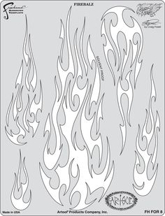 Artool Freehand Airbrush Templates, Flame-O-Rama 2 - Fire Balz