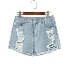 Ripped Cuffed Denim Shorts ($12) ❤ liked on Polyvore featuring shorts, blue, destroyed shorts, blue shorts, blue denim shorts, torn shorts and distressed shorts