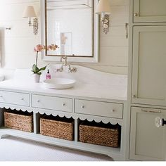 Scalloped perfection from @ashleygilbreathinteriordesign love the cabinet color
