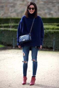 i love everything about this look! - Street Style Paris Fashion Week - Street Style Photos from PFW - ELLE