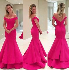 Mermaid Off the shoulder Prom Dress,Simple Formal Dress,Long