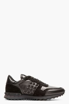 Valentino Black Leather & Suede Studded Sneakers for men | SSENSE