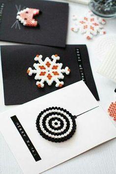 Pyssla Ikea beads winter Christmas card ideas
