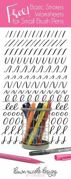 Basic Strokes Worksheets for Small Brush Pens.Download these free brush calligraphy worksheetsand get practicing!
