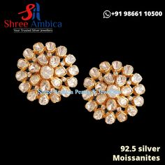 Alluring Polki studs with Moissanites and semi precious stones from Shree Ambica - Your Trusted Jewellers. Perfect pick for the upcoming festive/wedding season. Readily available in stock For Price and Details Message on - +919866110500 #ShreeAmbica #TrustedJewellers #SilverJewellery #kundanjewellery #uncutdiamondjewellery #indianbride #indianwedding #classicjewellery #bridesofhyderabad #traditionaljewellery #shaadisaga #925silver #studs #earrings Diamond Earrings, Stud Earrings, Uncut Diamond, Jewellery Designs, Silver Jewellery, Wedding Season, 925 Silver, Festive, Studs