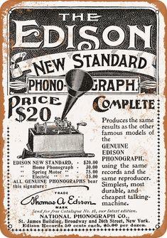 December 7 - Thomas A Edison demonstrates the gramophone Vintage Type, Vintage Tools, Vintage Labels, Vintage Ads, Vintage Stuff, Old Advertisements, Retro Advertising, Radios, Edison Phonograph
