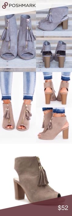 """❣️6.5 or 9❣️ Taupe Fringe Tassel Fall Booties Zip Adorable booties! I sold a similar style a month ago and they were a huge hit! Perfect color for this fall! Sizes 6.5 or 9 left.  3.5"""" block heel. Perfect for the office or for outings! So versatile and fashionable! The shoe color is TAUPE! They're both the same shoe in different lighting. They are all the actual ittem! It's more taupe than gray. Will not be restocking so grab before it's gone! Shoes Ankle Boots & Booties"""