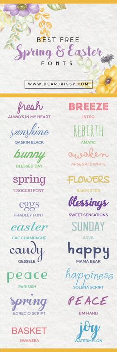 Free Easter Fonts Free Spring Fonts for instant download. Loving these beautiful free fonts!