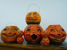 4 more nut cups, and 4 pulp Jack O'Lanterns. (Lot from 2016). #vintage #Halloween #collectible #pumpkin #lantern #jackolantern