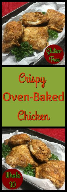 If you're like me, you've tried a number of different recipes that promise crispy chicken from the oven. Either they weren't crispy, or they used ingredients that weren't very healthy. Well, despair no more. These Crispy Oven-Baked Chicken Thighs really are crispy, and use only tapioca flour, a blend of spices, and an egg.