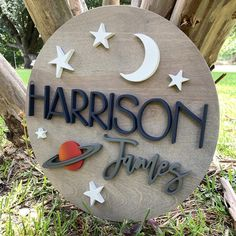 24 Stars Moon and Planet Theme Round Wood Name Sign Wood Nursery, Nursery Name, Nursery Themes, Wood Name Sign, Wood Names, Astronaut Nursery, Baby Name Signs, Baby Names, Established Family Signs