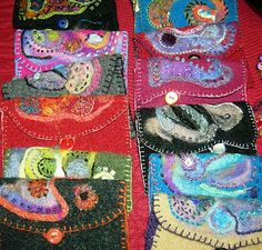 Julie Nutting Designs: A Night Filled With Color Felt Wallet, Felt Purse, Coin Purse, Nuno Felting, Needle Felting, Sewing Crafts, Sewing Projects, Recycled Sweaters, Wool Applique